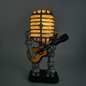 Table Lamps Retro Style Microphone Robot Lamp Holding Guitare Vintage Resin Decoration Home