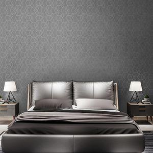 Dark Grey Geometric Wallpaper Roll Black Gray Wall Paper Modern Design Bedroom Living Room Background Home Wall Decor dsf0867