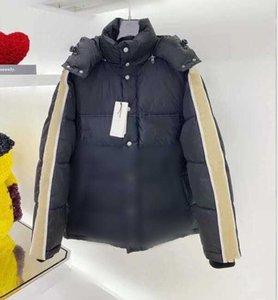 Erkekler Jakarlı Naylon Aşağı Ceket Tasarımcısı Erkek Sıcak Çıkarılabilir Hood Snap Düğmesi Zip Kapatma Dış Giyim Moda Beyler Standı Yaka Yastıklı Ceket