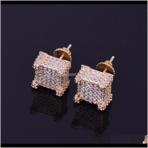 10X10Mm Mens Zircon Earring Hip Hop Style Copper Material Iced Bling Cz Square Earrings Screwback Fashion Jewelry Sic95 Kjvg5