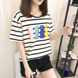Printing Stitching Cotton Stripes Women Tops Blue and White 2021 Summer New Top Stripes Casual Loose Women's Short Sleeve T-shirt Xxl