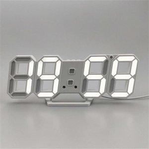 Modern Design 3D LED Wall Clock Modern Digital Alarm Clocks Display Home Living Room Office Table Desk Night Wall Clock Display 601 R2