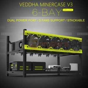 6 GPU VEDDHA V3D Aluminum Stackable Open Air bitcon Ethereum Miner Mining rig rack Case Computer Tower ETH Miner Frame Rig