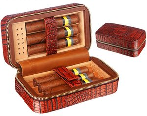 Portable Cigar case Crocodile grain Cedar Wood Zipper design Cigar Box Leather Travel Humidor with Humidifier