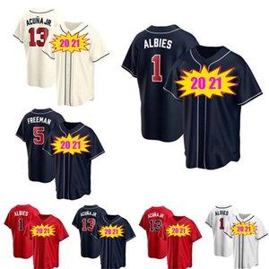 2021 مخصص أتلانتا 20 مارسيل اوزونا جيرسي 5 فريدي فريمان 7 دانسبي سوانسون 13 رونالد Acuña Jr. 1 Ozzie Albies Brave Baseball Jerseys