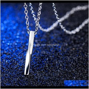 Necklaces & Pendants Drop Delivery 2021 Fashion Charm Mens Jewelry Choker Necklace Sier Color Twisted Column Pendant Jewellery Hip Hop Stainl