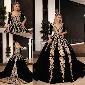 Long Evening Dresses 2019 Gorgeous Ball Gown 3 4 Long Sleeve V-neck Arabic dubai abaya Gold Lace Velvet Black Women Formal prom dress