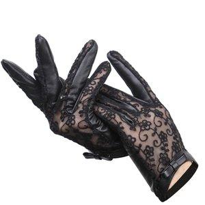 섹시한 패션 여성의 가죽 장갑 봄과 가을 얇은 양 가죽 검은 레이스 장갑 활 여성용 장갑 -7018