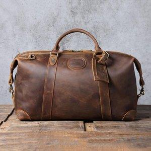 S.WORKER Large Capacity Genuine Leather Men's Travel Bag Vintage Cowhide Duffel Weekender Gym Retro Style Bags