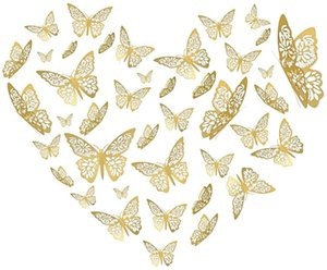 Butterfly Wall Decor 12PCS 3D Decorations Stickers for Crafts Walls Cakes with Dotted Glue