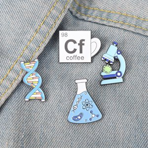 Beaker Microscope Gene Chain Enamel Pins Custom Scientific Brooch Lapel Badge Bag Cartoon Jewelry Gift for Friends