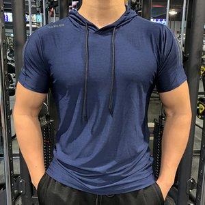 Gimnasio deportivo con capucha con capucha camiseta fitness delgado alto elasticidad transpirable rápido seco culturismo hombre camiseta camiseta hombres tops