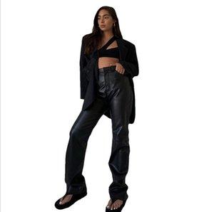 Nibber Mujeres Faux Cuero Alto Cintura Straight Pants Straight Streetwear Pantalones Femme Elegante Hin Fin Thin Slacks Mujeres Capris
