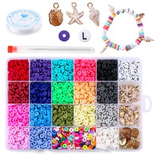 6mm Flat Round Polymer Clay Spacer Beads for Jewelry Making Bracelets Necklace Earring Diy Craft Kit with Pendant 4080pcs box