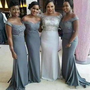 Vestidos de dama de honor de encaje de la sirena gris 2020 Nuevo diseño Venta caliente a la venta caliente fuera de los hombros Vestido de invitado de boda largo de hombro Maid of Honor Vestido B98