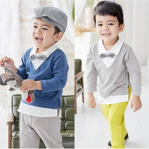 Baby Clothing Sets Boys Suit Infant Outfits Spring Autumn Cotton Long Sleeve Ties T-shirts Tops Trousers Pants 2Pcs Toddler Clothes B4691