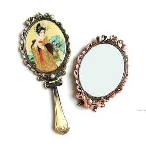Hand-held Makeup Mirrors Romantic Vintage Hand Hold Mirror Oval Cosmetic Hands Held Tool With Handle For Women FWF10450