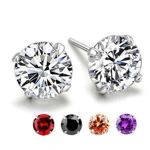 Womens Round CZ Ston Jewelry 925 Sier Stud Earrings