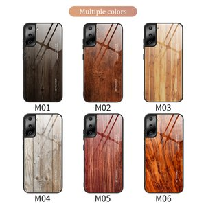 Wood grain glass phone cases for iPhone 12 11 pro promax X XS Max 7 8 Plus samsung S21 S20 NOTE20 NOTE10