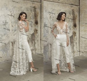 2021 Summer Beach Wedding Jumpsuit Dress with Long Cape Sleeve Lace Tulle Sexy V-neck Outfit Bridal Gown with Pant Suit