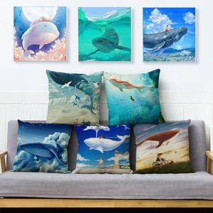 Dibujos animados colorido flying ballena cojín cobertizo almohadas de lino cubre 45 * 45 cm lanzamiento funda de almohada coche decoración para el hogar funda de almohada de animales