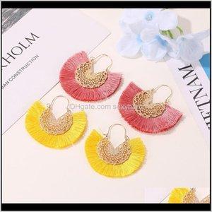 & Chandelier Ethnic Style 10Colors Fan Shape Tassel Pendant Earrings Dangle Hollow Alloy Fringe Eardrop Charm Ear Hooked Women Earring Gskq2