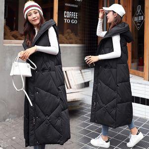 2021 New X-Long Hooded Vests Parkas Fashion Winter Jacket Women Casual Thick Down Cotton Winter Coat Women Warm Waistcoat