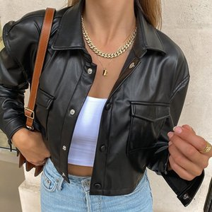 Sexy Black Cropped Faux Leather Jacket Women Autumn Streetwear Biker Turn-down Collar Buttons Punk PU Coat Outwear