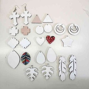 Sublimation Blank Earrings 16 Styles Thermal Transfer Printing Star Heart Flower Leaf Shaped DIY Earring Gift Party Favors 6CO1