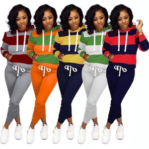 Fashion Striped Women Tracksuits Full Sleeve Hoodie and Pants Suit Spring Autumn Casual Two Piece Sets in 7 Colors