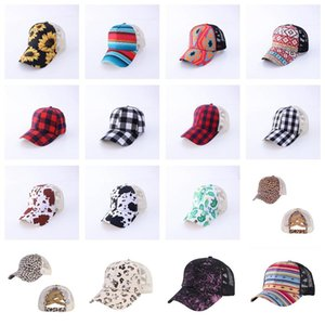 Criss Cross Ponytail Party Hats Woman Washed Mesh Messy Bun Camo Leopard Sunflower Plaid Baseball Cap 25 Colors