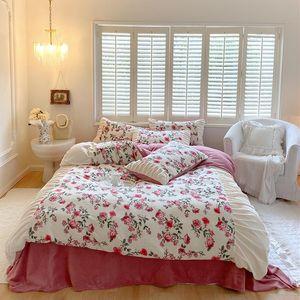 Bedding Sets Vintage Rose Flower Printing Princess Set Shaggy Velvet Fleece Ruffles Duvet Cover Quilt Bed Linen Pillowcases