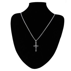 18K Gold Silver Mens Cross Ожерелье Очарование Иисуса Кулон Ожерелья Высокое Качество Мода Хип Хоп Ювелирные Изделия Сталь Цепочка для мужчин 543 Q2