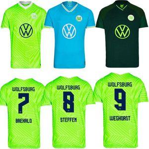 21 22 VFL Wolfsburg Soccer Jerseys Goghorst Baku 2021 2022 Hogar de la tercera Steffen Brekalo Mehmedi Philipp Bialek Guilavogui Arnold Xaver Gi
