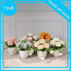 5 الزهور الأناناس أقحوان البلاستيك بوعاء محاكاة محطة حفل زفاف الديكور المنزل الاصطناعي