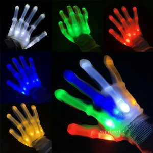 Party Favor XL LED luminous gloves rainbow fluorescent GLOVES HALLOWEEN props Christmas Thanksgiving flash toys T2I52946