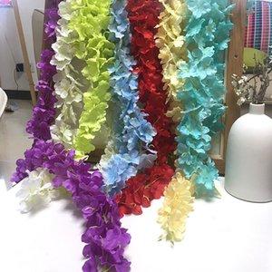 Zarif Yapay Çiçek Wisteria Çiçekler Asma 34 CM Ev Bahçe Duvar Asılı DIY Rattan Centerpiece Noel Parti Düğün Dekor Backdrop