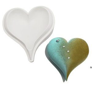 Venta al por mayor 3D Diamond Love Shape Forma de corazón Moldes de silicona Moldes para hornear esponja gasa mousse postre pastel de comida grado DHE5713