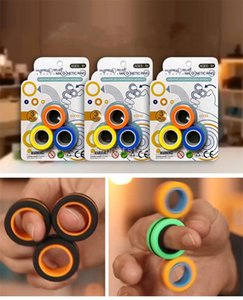 DHL Anti-Stress Finger Magnetic Rings For Autism ADHD Anxiety Relief Focus Kids Decompression Fingertip Toys Magic Ring Props Tool
