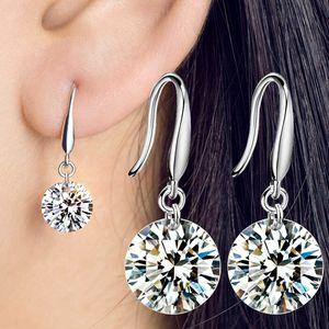 8-10mm cúbico zircônia mulheres cair brincos 925 senhoras de prata esterlina para nupcial luxo moda jóias lx0345