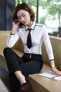 Формальные брюки весной падение Униформа комплекты с 2 частями вершины и брюки для женщин бизнес-рабочая носить костюмы элегантных белых женщин два
