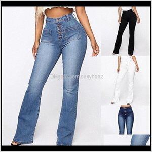 Womens Clothing Apparel Drop Delivery 2021 Fashion High Waist Pants For Women Casual Ladies Pockets Jeans Spring Long Blue Denim Trouser Muje