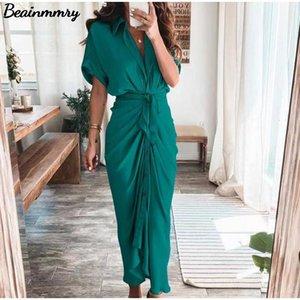 Casual Dresses Women Summer Elegant Button Ruched Bandage Shirt Dress Fashion Short Sleeve Solid V Neck Beach Maxi