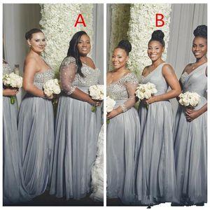 2021 실버 아랍어 신부 들러리 하나 어깨 칠판 시폰 이브닝 드레스 섹시한 겸손한 하녀 명예 파티 가운