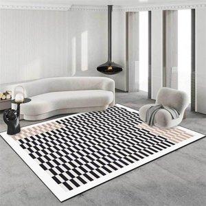 Carpets Area Rug For Living Room Checkerboard Lattice Bedroom Carpet Modern Simple Black White Brown 3D Floor Mats Soft Long Velvet Rugs