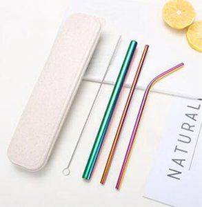 Reusable Stainless Steel Straw Set Straight Bent Straws Cleaning Brush 5PCS Metal Smoothies Drinking StrawsSet WLL732
