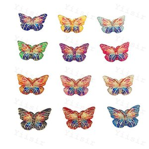 Sewing Notions Mixed Colors Acrylic Bling Cabochons Colorful Butterfly With Hole Flat back Rhinestone Ornaments DIY Wedding appliques craft Baby Shower Decor
