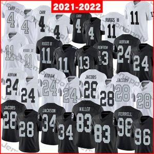 2021-2022 Fußball-Trikots 4 Derek Carr 11 Henry Ruggs III 13 Hunter Renfrow 24 Johnathan Abram 28 Josh Jacobs 34 Bo Jackson 83 Darren Waller 96 Clelin Ferrell