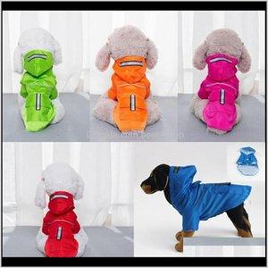 Apparel Dog Rain Coat With Hats Cat Tactic Solid Color Waterproof Clothes Double Deck Snap Button Pocket Rainwear Pets Products 14 5Sl Y1Arl
