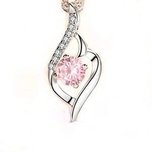 Collier en argent Sterling Femmes Zircon Diamant Pendentif Beautiful 18inches Box Chaîne Clavicule Cadeau de mariage Bijoux